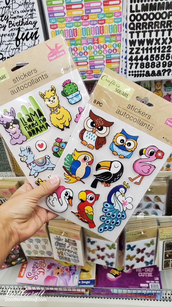 Crafter's Square Pop-Up Stickers are found in the Dollar Tree Crafts and Sticker section. They have a bunch of really fun stickers that would work perfectly for handmade cards. I love the pop-up stickers with layers of foam.   They add the perfect special touch to a card!