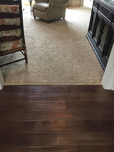 Close Up Of Transition Between Foyer And Family Room With Gross Carpet