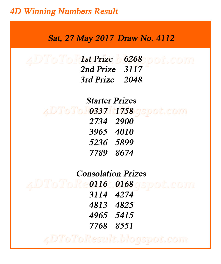 Singapore Pools 4D Results 27 May 2017 | 4D Results | Big Sweep