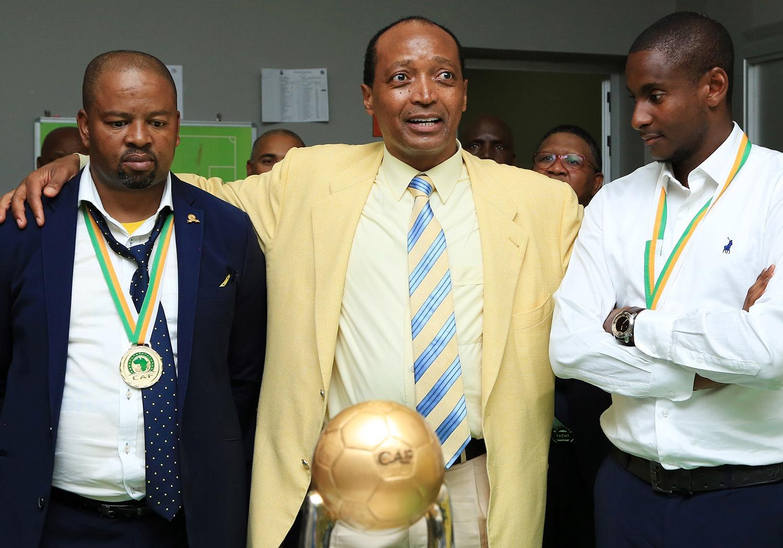 Mamelodi Sundowns owner Patrice Motsepe with joint-coaches Manqoba Mngqithi and Rhulani Mokwena