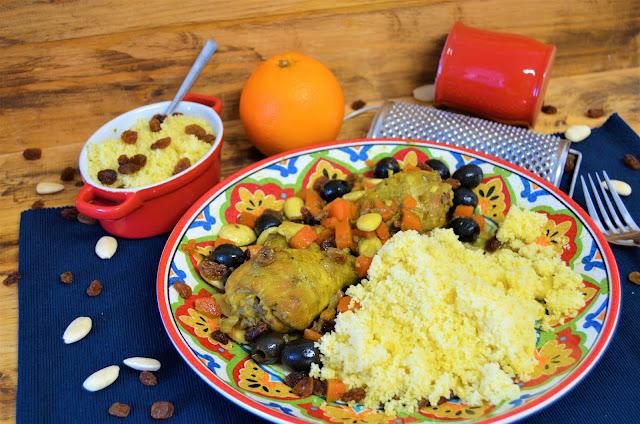 Las delicias de Mayte, pollo marroquí con cuscús, pollo marroquí, pollo marroquí receta, pollo marroquí con pasas, pollo marroquí con aceitunas, Pollo sabor marroquí,
