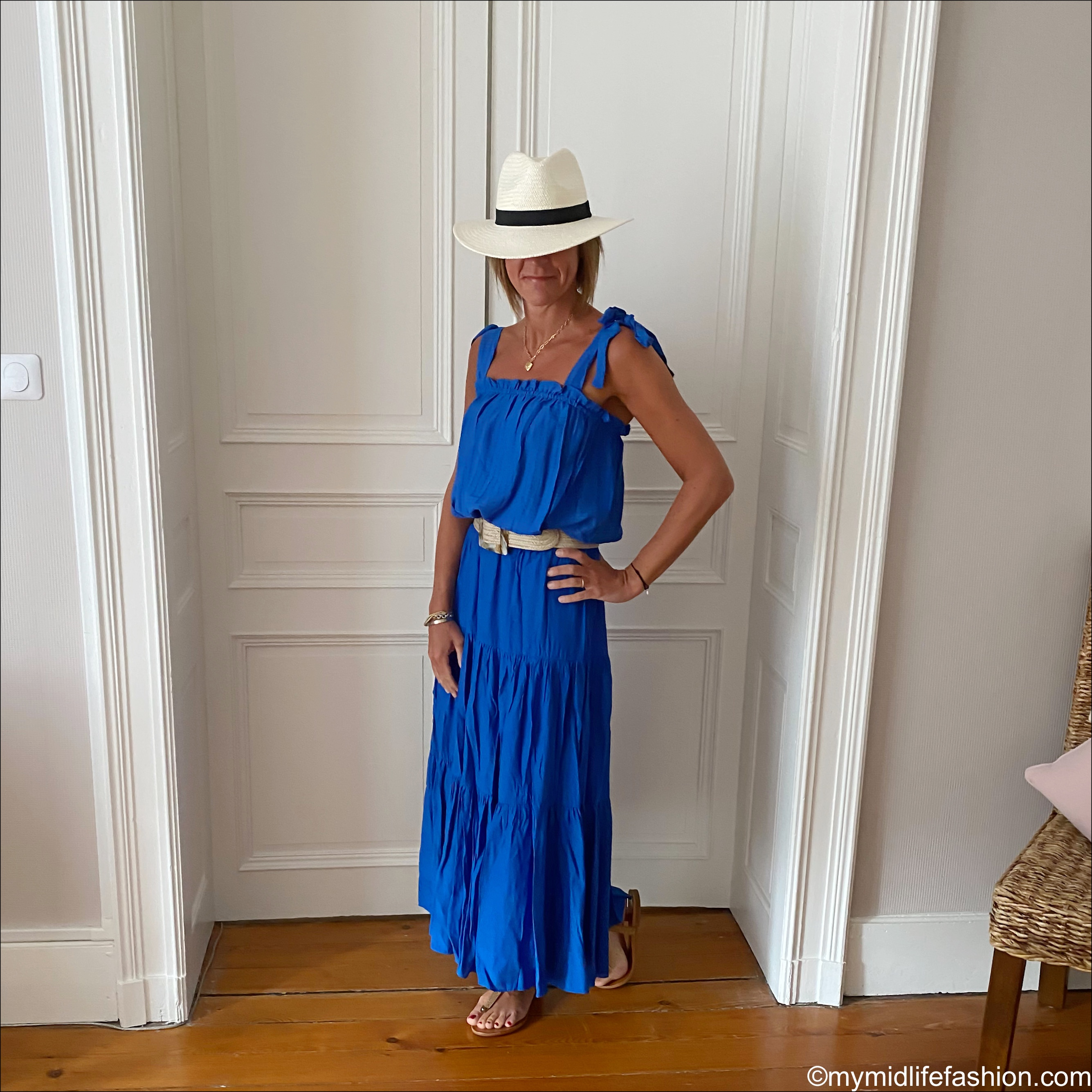 my midlife fashion, zara Panama hat, h and m jacquard weave.top, h and m long skirt, zara jute belt, Carvela flat thong sandals