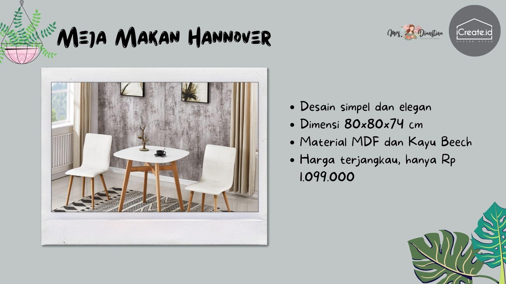 Hannover Meja Makan Minimalis iCreate.id