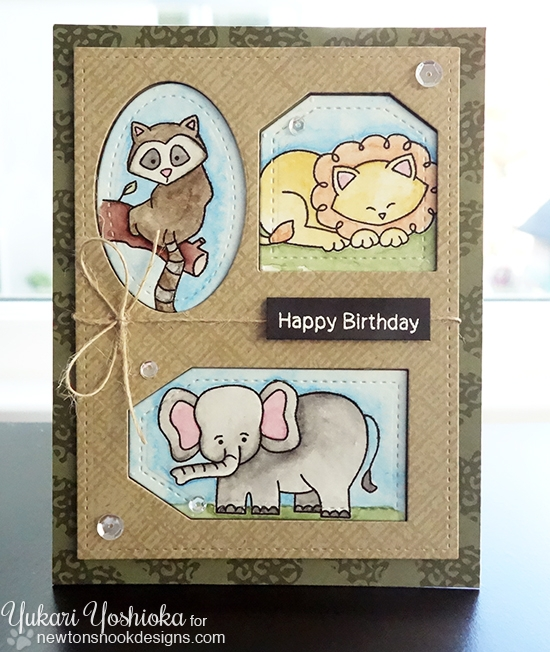 Safari Birthday Card by Yukari Yoshioka | In Slow Motion & Wild Child animal stamp sets by Newton's Nook Designs #newtonsnook