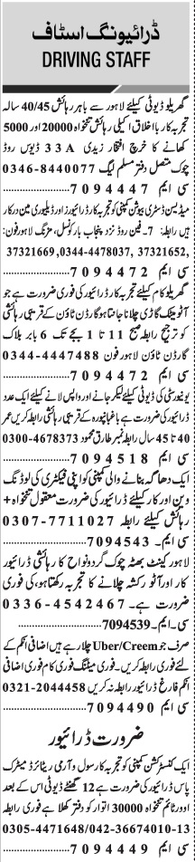 Daily Jang Newspaper Sunday Classified Driving Staff Jobs 2021