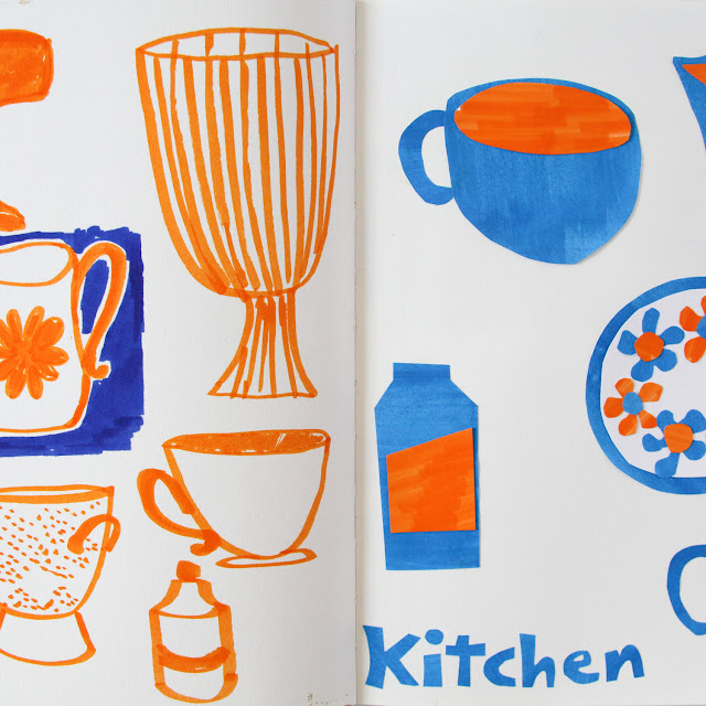 2x2 Sketchbook, #2x2sketchbook, Dana Barbieri, Anne Butera, Sketchbook, Collage, Marker, Kitchen