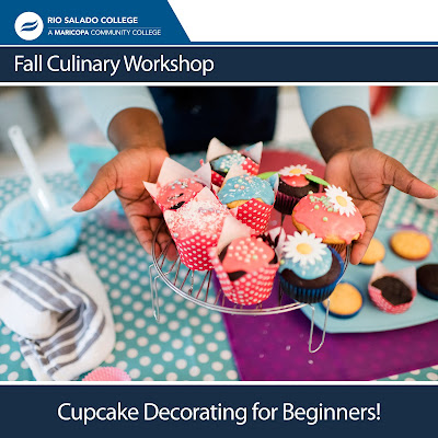Poster for Cupcake Decorating Workshop, featuring someone holding a platter of colorful cupcakes.