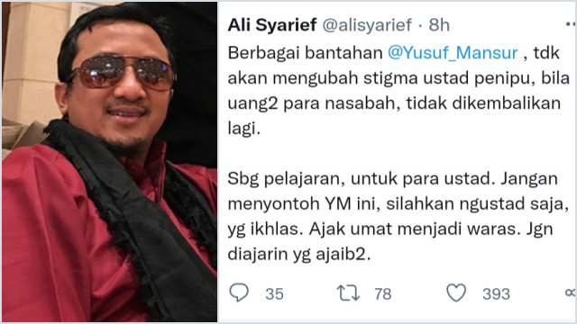 Singgung Yusuf Mansur, Ali Syarief: Dia Ustad Penipu Jangan Dicontoh