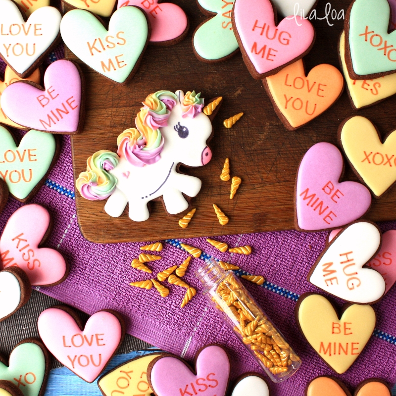 Unicorn decorated sugar cookies with unicorn horn sprinkles