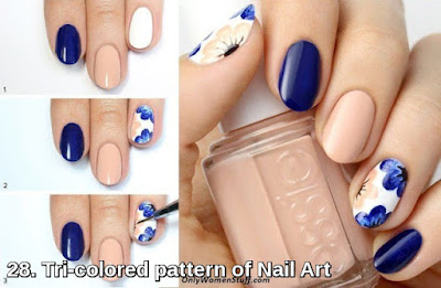 Tri-colored pattern of Nail Art