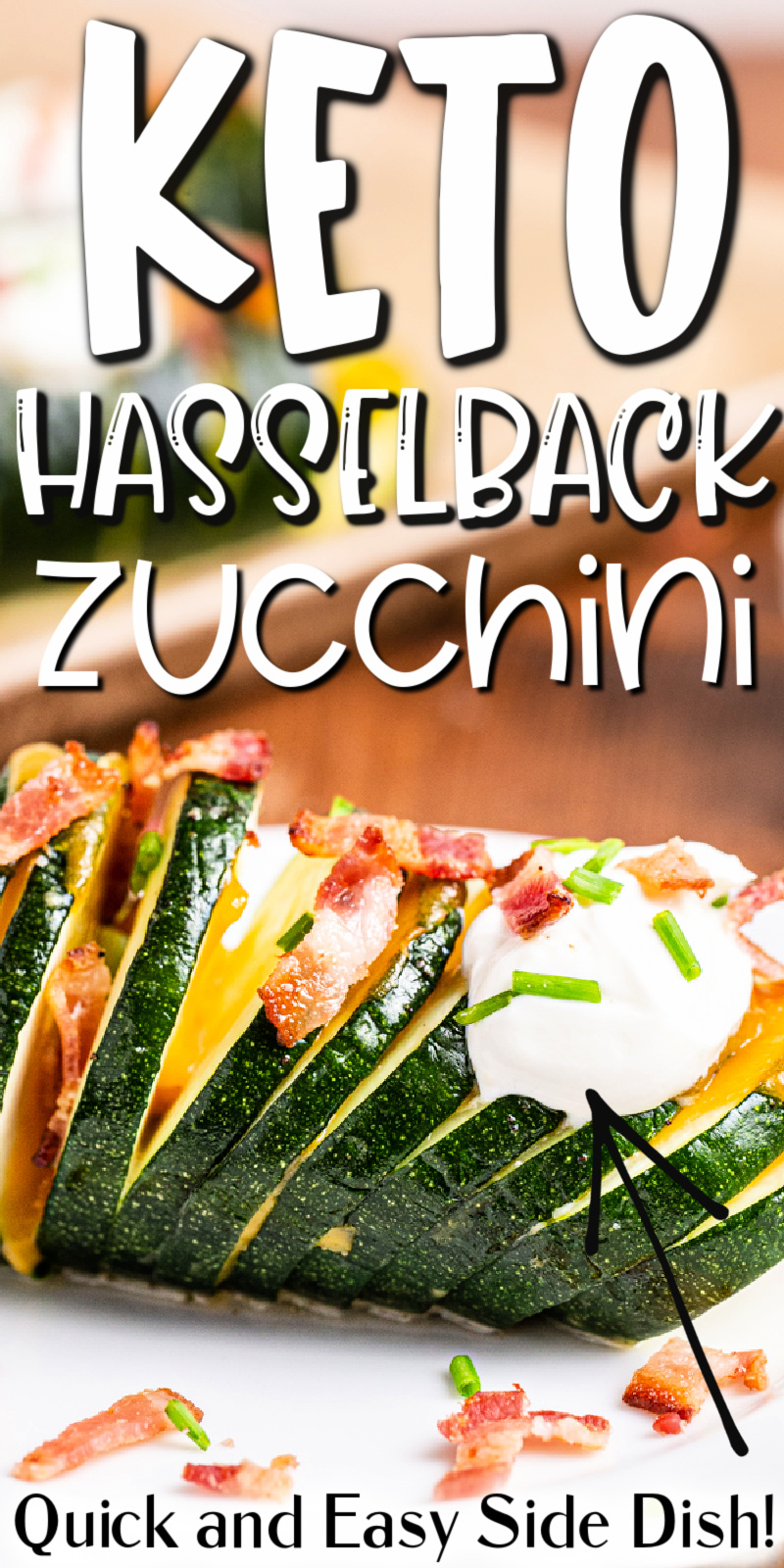 Hasselback Zucchini - This loaded Hasselback zucchini recipe is an easy-to-make low carb, keto, and gluten-free side dish that everyone will love! #keto #lowcarb #glutenfree #loaded #hasselback #zucchini #recipe