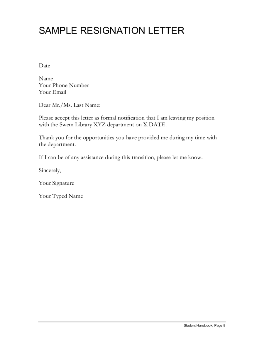 Simple Resignation Letter Example ~ Thankyou Letter