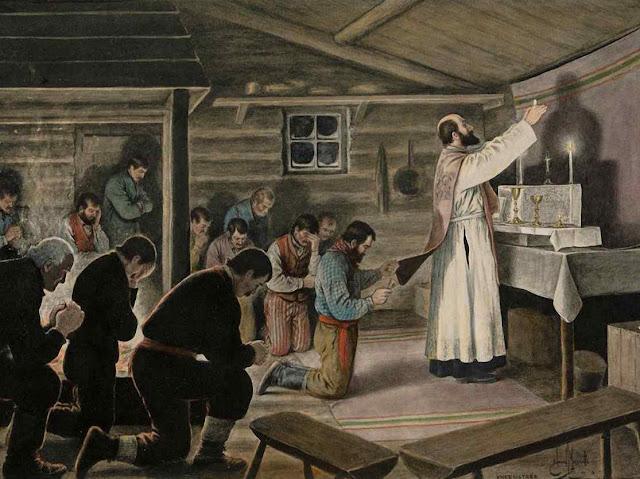 Missa de Galo num canteiro de obras, A dureza das condições e da pobreza são apagadas pela unção do Natal. Edmond-Joseph Massicotte (1875 - 1929), Collection du Musée national des beaux-arts du Québec.