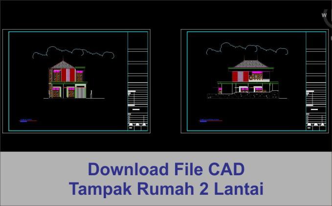 download Tampak rumah 2 lantai file autocad