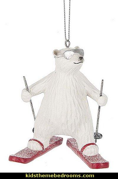 Cool Polar Bear Skiing  Christmas Ornament Figurine