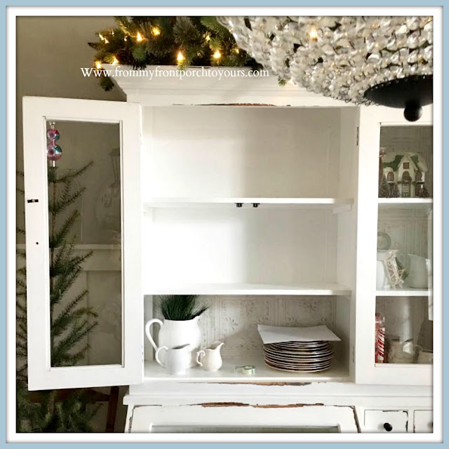 Cabinet- Shelving -Makeover-Tutorial-DIY-Peel & Stick-Wallpaper-White-Faux-Tin-Cottage-Style-Farmhouse-Style-From My Front Porch To Yours