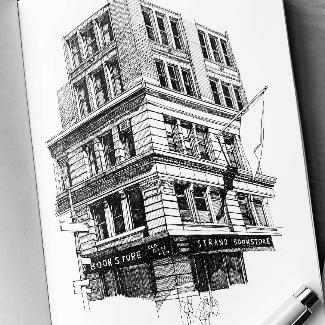 02-Strand-Book-Store-New-York-MISTER-VI-Architectural-Drawings-From-Around-the-World-www-designstack-co