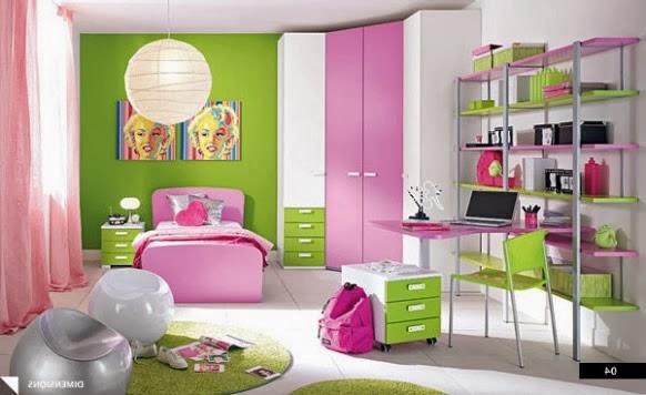 Dormitorios para ni a en rosa y verde lim n ideas para for Decoracion habitacion nina gris y rosa
