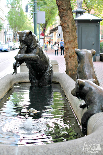 "The sculpture of a mother bear and her cubs is part of a bronze sculpture & fountain series called ""Animals in Pools"" that was first installed in Portland, OR in 1986."