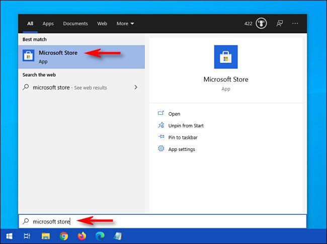"""افتح قائمة ابدأ وابحث عن """"متجر Microsoft"""" ، ثم انقر على رمز متجر Microsoft."""
