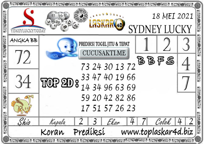 Prediksi Togel Sydney Lucky Today LASKAR4D 18 MEI 2021