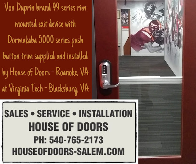 Von Duprin brand 99 series rim mounted exit device with Dormakaba 5000 series push button trim supplied and installed by House of Doors - Roanoke, VA at Virginia Tech - Blacksburg, VA