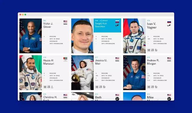 هذا الموقع هو قاعدة بيانات كاملة لرواد الفضاء ومهماتهم