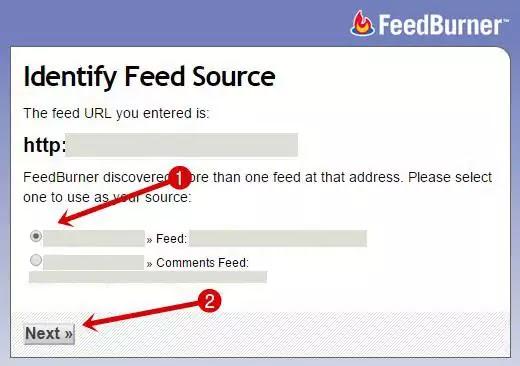FeedBurner- Select feed source
