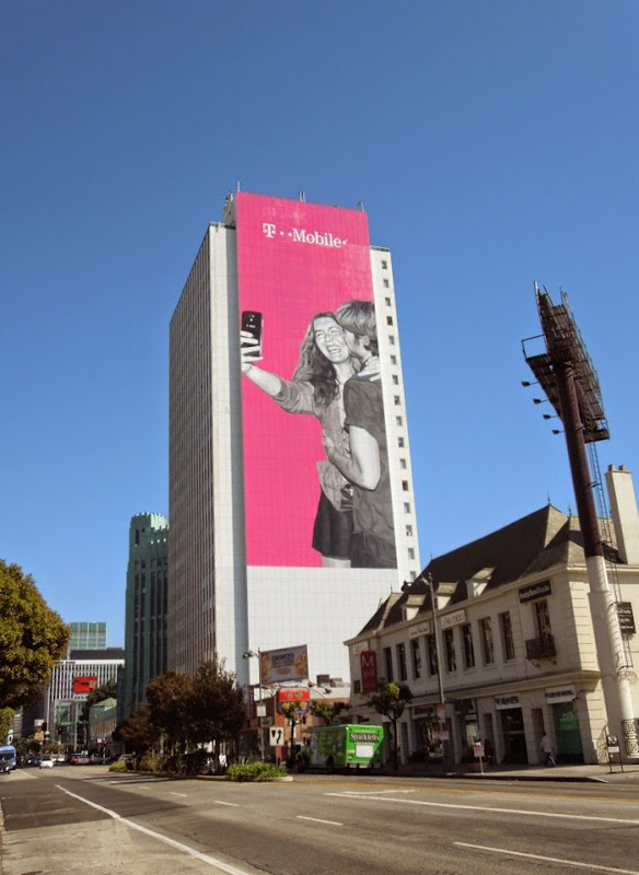 Giant T Mobile selfie billboard