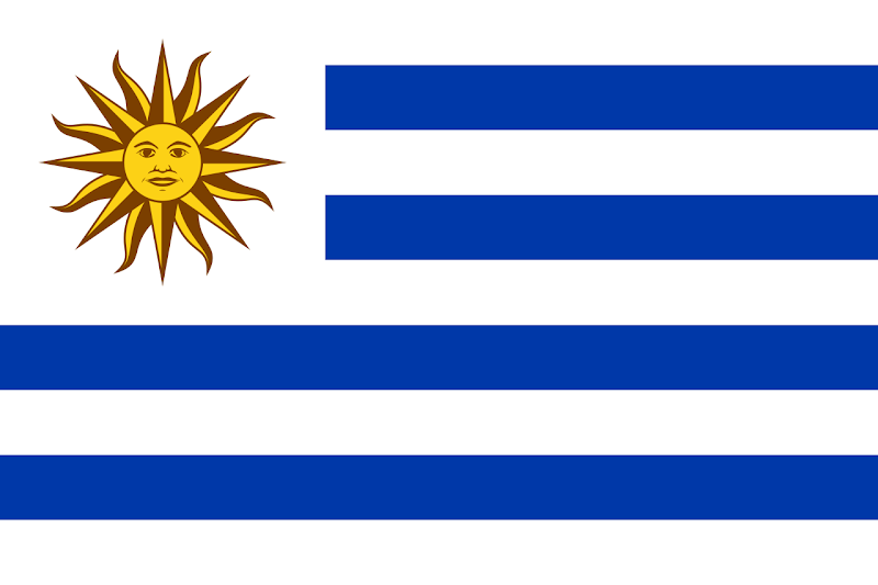 Logo Gambar Bendera Negara Uruguay PNG JPG ukuran 800 px