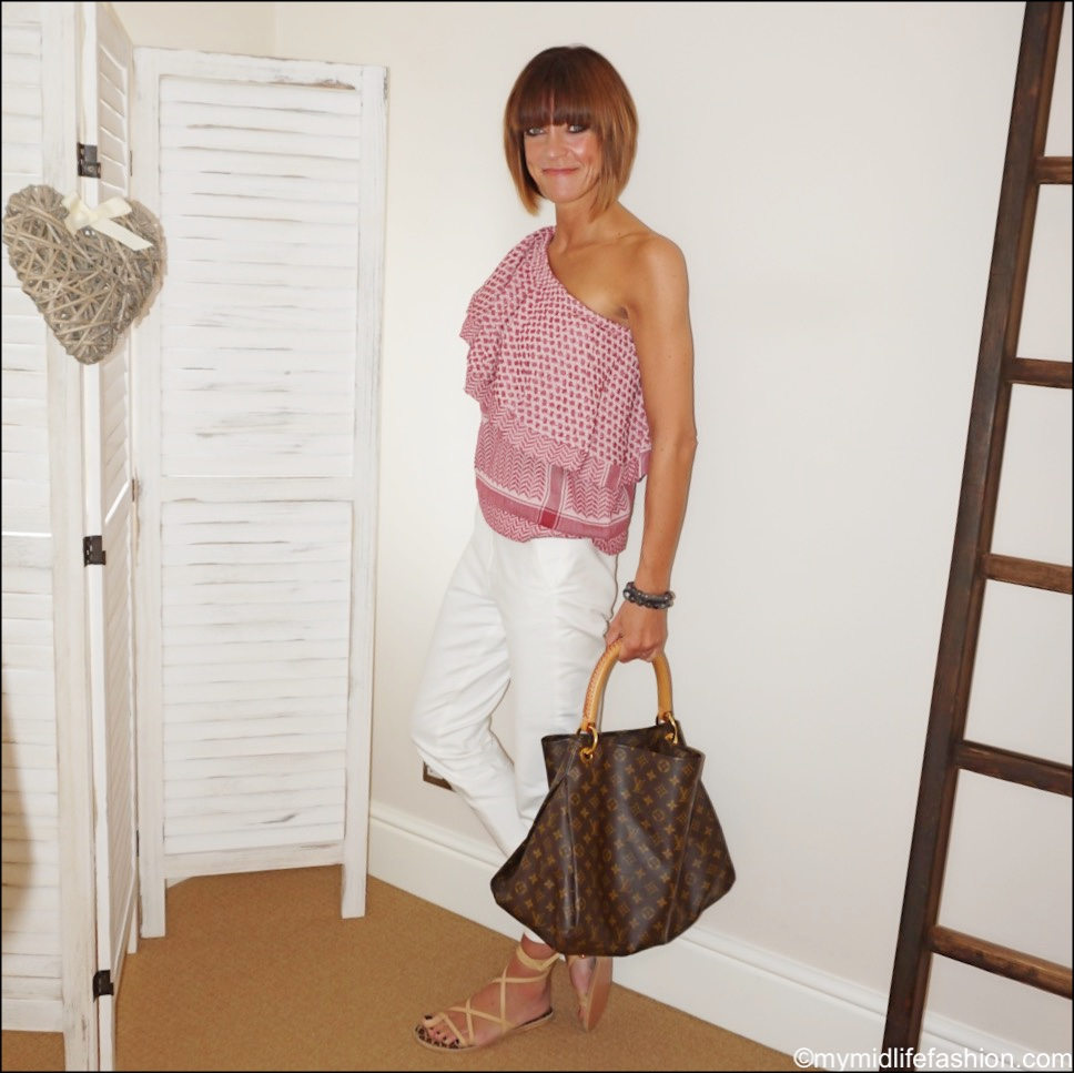 my midlife fashion, rough studios Chrissy top, Ancient Greek sandals more beige leather sandals, marks and Spencer Mia cropped trousers, Louis Vuitton handbag