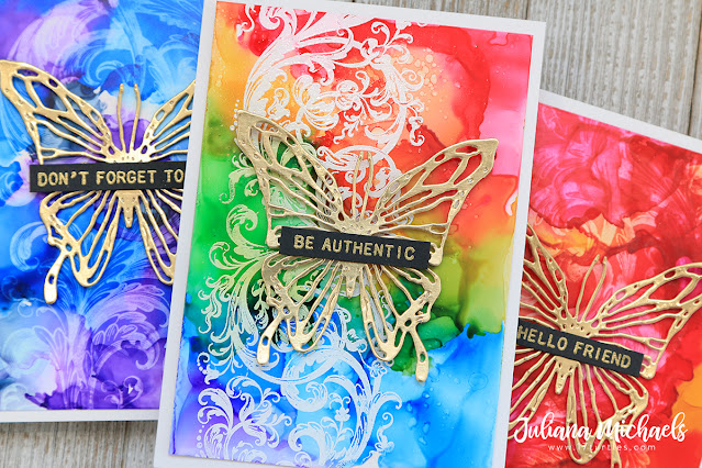 Alcohol Ink Rainbow Backgrounds Card by Juliana Michaels