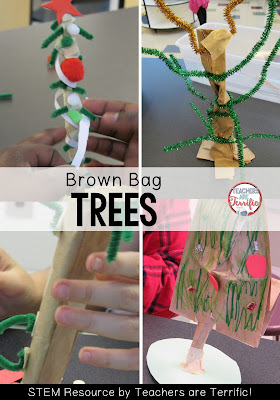 STEM Challenge for December! It's the Brown Bag Christmas Tree! A few materials and a lunch sack and you have a little tree!