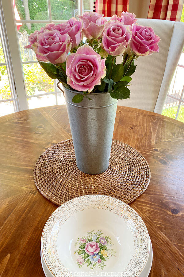 Pink Roses and Pink Bowl on a dining table