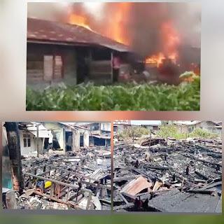 Sijago merah hantam  Lima rumah warga di belakang Pasar ikan Dabok Singkep