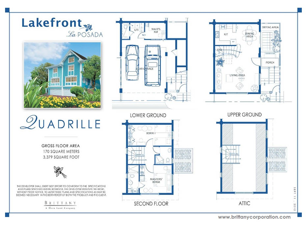 Floor Plan of Quadrille Model - La Posada | House and Lot for Sale Sucat Muntinlupa