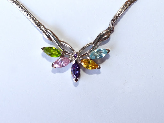 Multi-stoned butterfly necklace