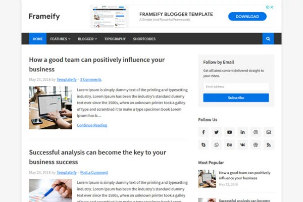 best responsive blogger templates free download, frameify blogger template, blogger themes 2020