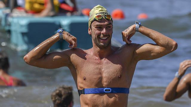Nadador Gregorio Paltrinieri da Itália vence maratona aquática e Marc-Antoine Olivier, da frança fica em segundo