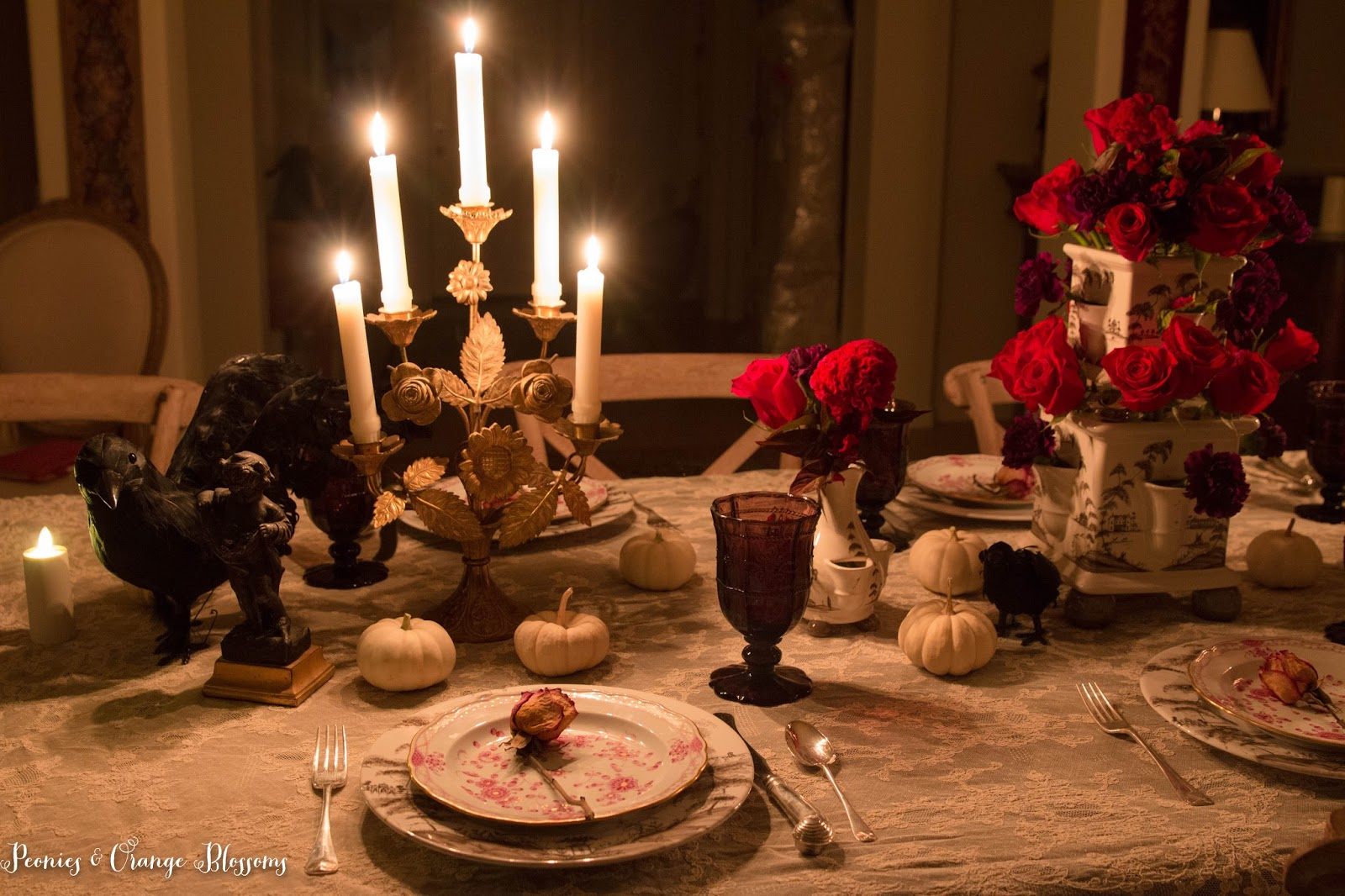 elegant french gothic halloween table decor inspired by the phantom of the opera