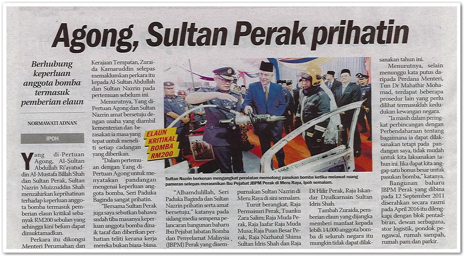 Agong, Sultan Perak prihatin - Keratan akhbar Sinar Harian 9 Julai 2019