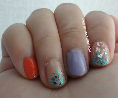 glittery nails using Etude House and Peripera nail polishes