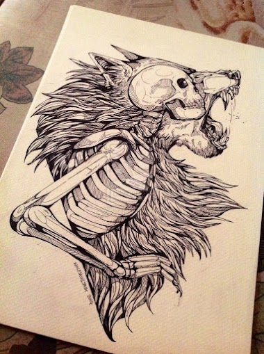 art wolf human skeleton