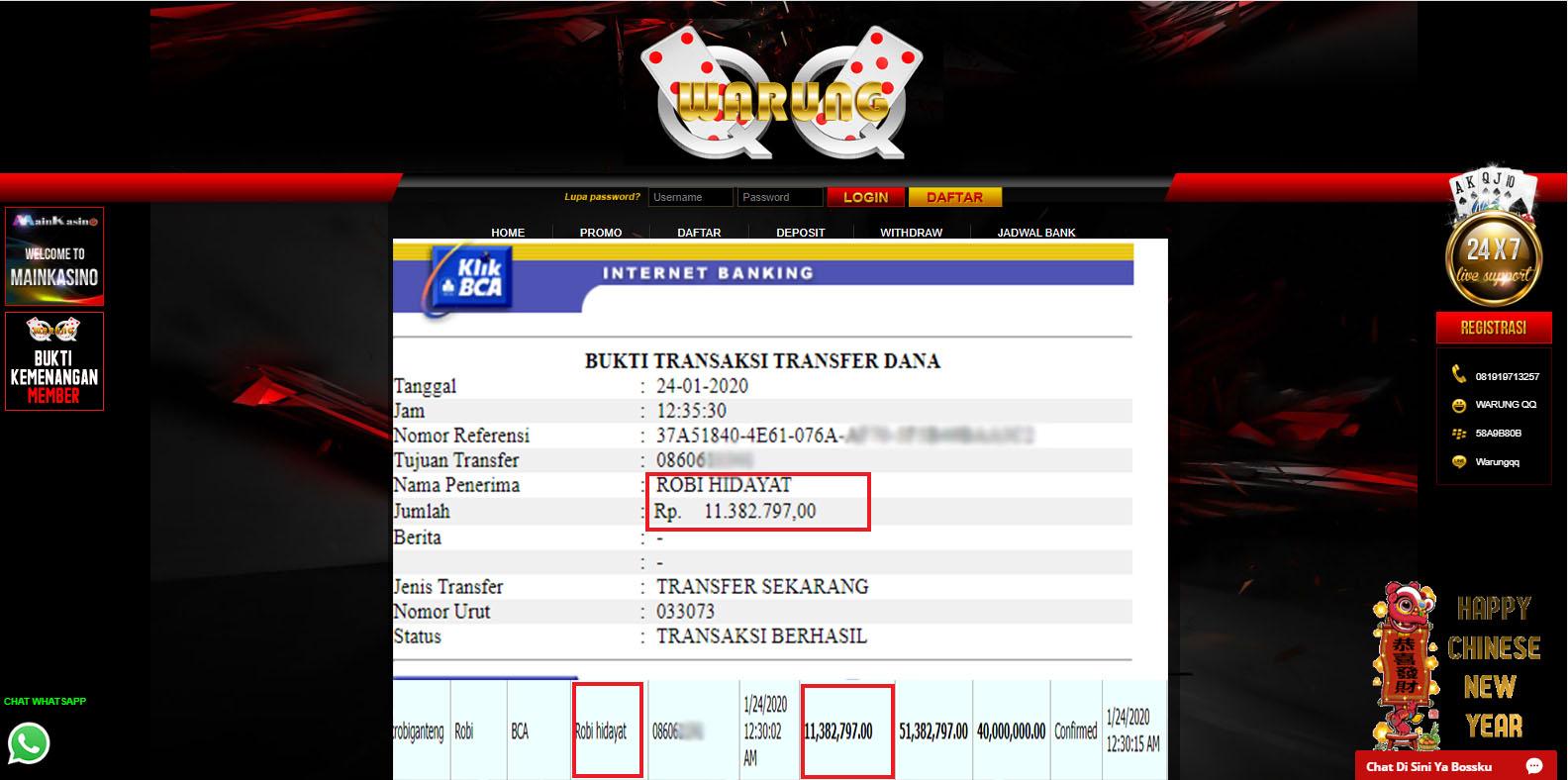 Selamat Kepada Member Setia WARUNGQQ Withdraw RP 11.382.797