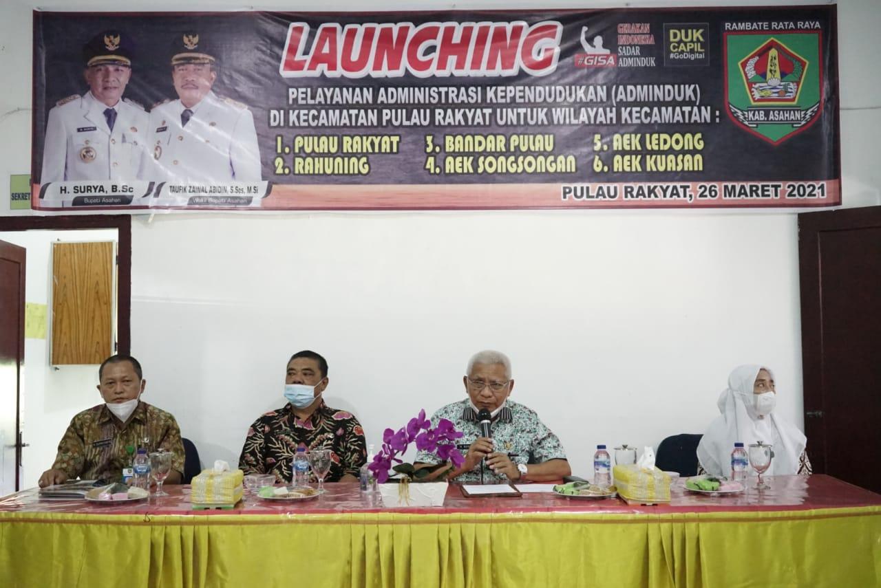 Bupati Asahan Melaunching Launching Pelayanan Administrasi Kependudukan di Kantor Camat Pulau Rakyat