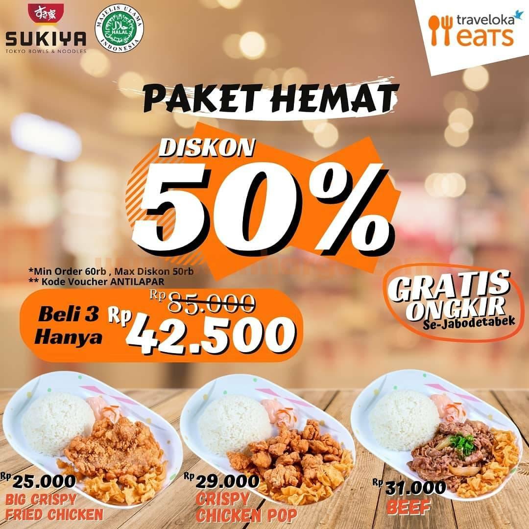 SUKIYA Promo Paket Hemat DISKON 50% Via Traveloka Eats
