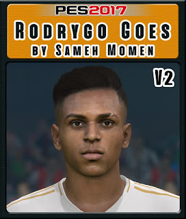 This face can be used for Pro Evolution Soccer  Update, PES 2017 Faces Rodrygo Goes by Sameh Momen