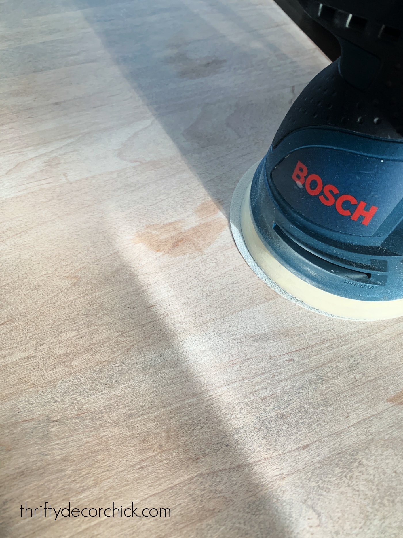 sanding stains off wood counters