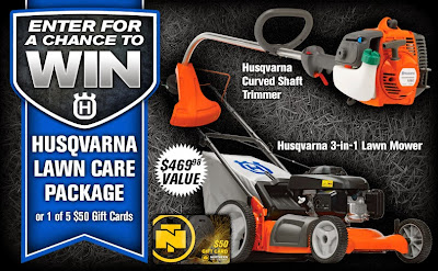 Enter the Husqvarna Lawn Care Package Sweepstakes. Ends 5/28