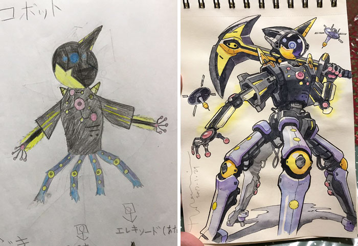 #10 Cosmic Robot - Dad Turns His Sons' Doodles Into Anime Characters, And The Result Is Amazing